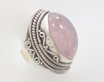 Rose Quartz Ring, Sterling Silver, Big Statement , Vintage Ring, Big Stone, Pink Ring, Boho Bohemian, Ethnic Tribal, New Age, Crystal, Large