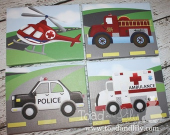 Set of 4 Rescue Vehicle Boys Bedroom Stretched Canvases Kids Playroom Baby Nursery CANVAS Bedroom Wall Art 4CS013