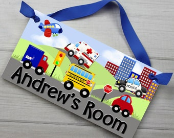 Lots of Vehicles Transportation Cars Trucks Boys Bedroom Baby Nursery Kids Bedroom DOOR SIGN Wall Art DS0052