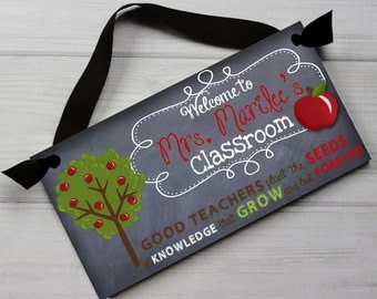 Teacher Chalkboard Classroom with Seeds of Knowledge Quotation Saying DOOR SIGN Teacher End of Year Christmas Present Gift TDS020
