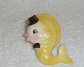 Vintage Lefton Fish Wall Plaque Napxo Candle Hugger Climber Napkin Holder Yellow Mermaid 1950s Retro