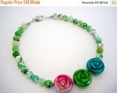 50% OFF CLEARANCE Carved Jade Flowers With Green Agate Beaded Strand by Debbie Renee