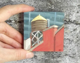 water tank  skyscraper mini painting oil  cityscape gift art