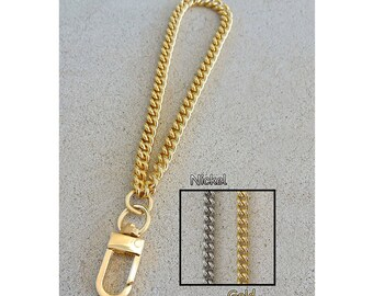 "GOLD or NICKEL Chain Wrist Strap - Mini Classy Curb Chain - 1/4"" Wide - Choose Size and Attachable Hook"