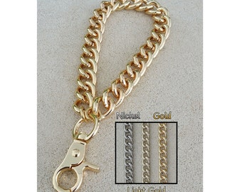 "GOLD, LIGHT Gold or NICKEL Chain Wrist Strap - Large Classy Curb Chain - 1/2"" Wide- Choose Size & Hook Style"