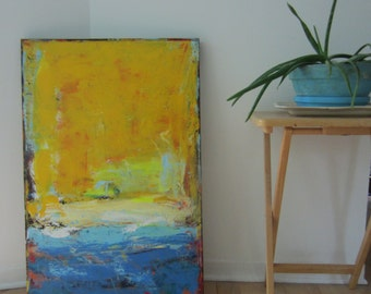 Yellow Painting Contemporary Art by Francine Ethier, 24 x 36 inches