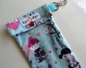 Epi Pen Case with Swivel Clip, Clear Vinyl Pocket Holds Adult or Jr. Allergy Auto Injector Pens - Choose From 3 Sizes Japanese Dolls Fabric