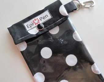 Polka Dots Epi Pen Carrier with Clear Pocket and Clip Holds up to 2 Allergy Injector Pens - Medical ID Card Included You Choose Size