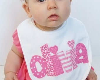 Personalized Pink Baby Bib - Girl Name Bib - Appliqued Baby Girl Bib - Shades of Pink Baby Bib - Personalized Baby Gift -  Name Announcement