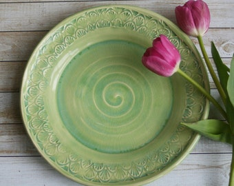 Spring Green Dinner Plate Handmade Pottery Dinnerware Ready to Ship Made in USA