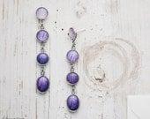 Purple ombre earrings - Ranunculus petals - Flower jewelry - Bloom Collection by BeautySpot (E152)