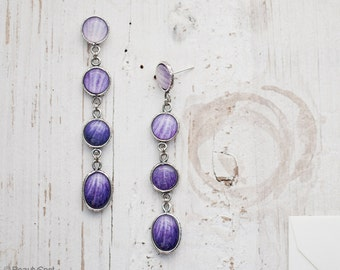 Purple ombre earrings - Long Purple earrings - Long Lilac earrings - Floral earrings - Ranunculus earrings - Purple Flower earrings (E152)