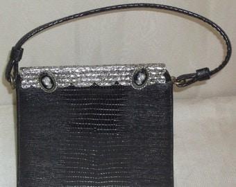 HOT SALE Vintage Lizard Skin Kelly Purse Juliart Cameo Intaglio Hematite Handbag France