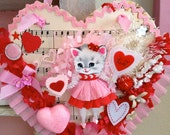 Vintage Inspired Sugar Sweet Sweetheart Kitschy Kitty Valentine Posy Pocket RESERVED for Bessie