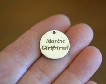 Marine Girlfriend Custom Laser Engraved Stainless Steel Charm CC176