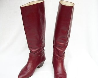 50% Off Sale Size 7.5 to 8 Burgundy Leather Riding Boots Leather Lining Ankle Straps Valentin