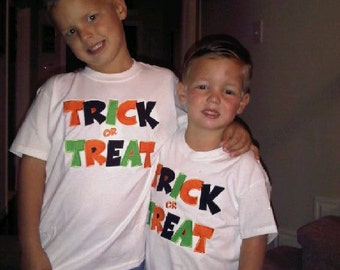 Boutique Custom Personalized Halloween TRICK OR TREAT Fall Shirt Boys Girls Name Included Appliqued Embroidered