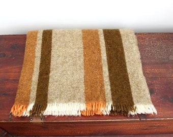 vintage Striped Killarney Irish wool throw / cozy hand woven wool blanket