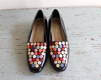 vintage black patent BUTTON shoes size 10