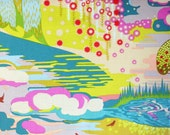 Enchanted fabric, Anna Maria Horner, Fibs and Fables yardage, powder color, pink and blue, Free Spirit Fabric, designer fabric, choose cut