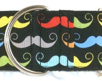 2 inch mustache greyhound martingale dog collar, Movember, facial hair, handle bar, colorful--Mustache-black