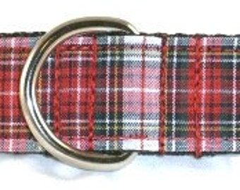 1 inch plaid greyhound martingale dog collar, Scottish, lumberjack, stripes, criss cross, lines, flannel, holiday--Plaid-Red