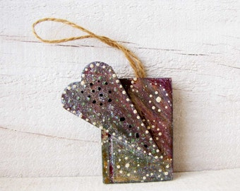 Heart Book Ornament mixed media ornament Christmas Gift Tag #45