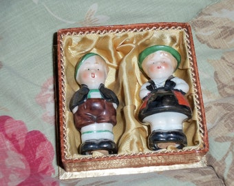 Vintage German Children Salt and Pepper Shakers EX Made in Germany Red