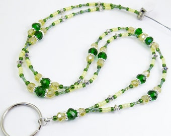 RESERVED for Dorothy - Custom Made Beaded Lanyard, ID Badge Holder, Green Bay Packers Colors