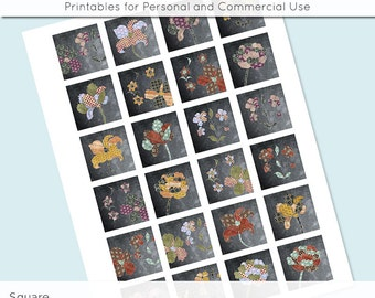 Fabric Flowers 1x1 Inch Squares and 1.5 Inch Squares Digital Collage Sheet Images for Glass Resin Pendants JPG Q0007 S0007 1 Inch