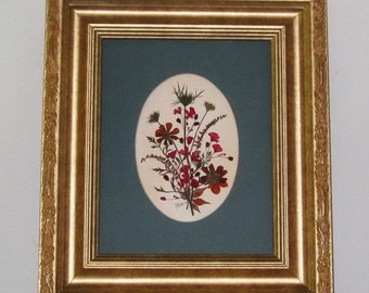JUNE SALE: Elegant pressed flower art in green mat , wide gold frame
