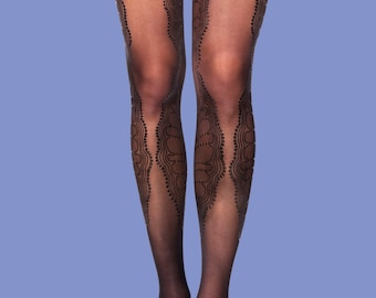 Black on black lace tights La Boheme model available in S-M L-XL,  gift for her, gift ideas
