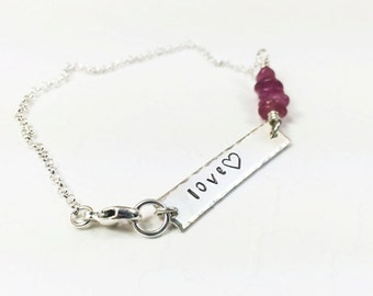 Inspirational Word Bracelet - Inspirational Word Jewelry - Love Bracelet - Inspirational Love Gift - Gemstone Choice - Hand Stamped Bracelet