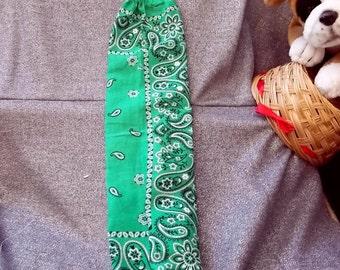 Plastic Bag Holder Sock, Green Paisley Print
