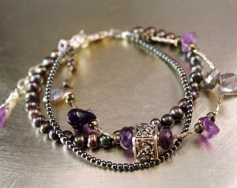 The Chiara Freshwater Pearl, Hematite, Bali Silver Bead, Labradorite Briolette, and Amethyst Nugget Bracelet - Sterling Silver Clasp, Chain