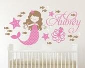Starfish Mermaid Decal Personalized Name Girls Room Decor Underwater Nursery Cute Mermaid Theme