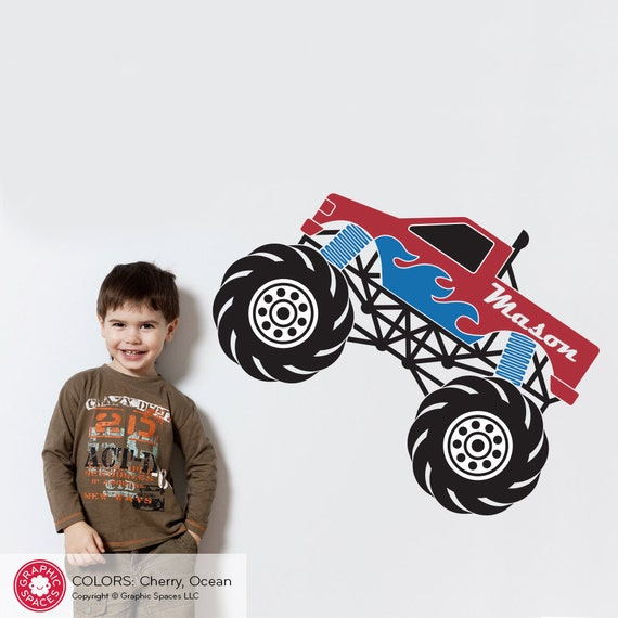 Monster Truck Wall Decal Personalized Name for Boys Room Decor Transportation Truck Theme Vinyl Wall Stickers