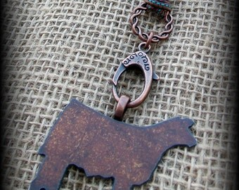 """Rustic Metal Show Steer, Cattle on Silk  Necklace 27"""""""