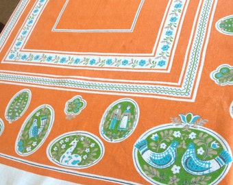 Colorful Folk Print Linen Tablecloth Bright Orange