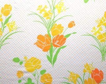 2 Vintage Martex Sheets Top and Bottom Double Full Tulips Daffodils