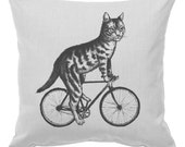 Cat on a Bicycle - Throw Pillow