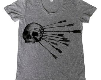 Skull and Arrow - Womens T Shirt, Ladies Tee, Tri Blend Tee, Handmade graphic tee, sizes s-xL