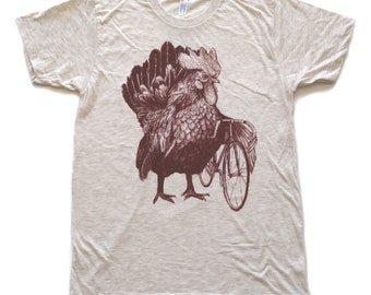 Mens Chicken Bicycle T-Shirt Rooster Farm Shirt - Unisex Tri Oatmeal American Apparel T Shirt