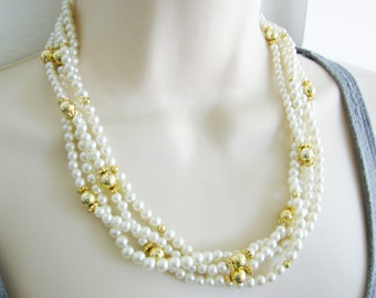 Vintage  gold and white pearl  beaded multi strand cocktail necklace (HA-3)