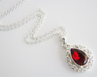 Vintage NRT silver and crimson red tear drop necklace with clear crystal accents (S11)