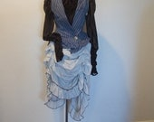 Steampunk modern Victorian night circus vest blouse and bustle with lace and hand dyed