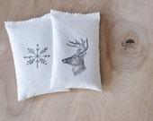 Outdoorsman Gift, Balsam Drawer Sachets, Snowflake and Deer Head, Woodland Decor
