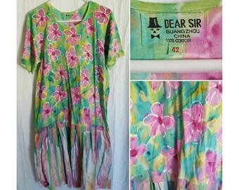 Artsy flower drop waist cotton summer midi dress size medium