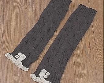 Ready to ship today - Trendy Women's Dark Grey Knit Button Lace Trim Leaf Leg Warmer- boot socks - Women Leg Warmers - Dark Grey Leg Warmers