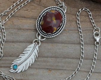 Sterling silver mookaite jasper turquoise feather pendant necklace genuine natural stone  tribal southwestern artisan handmade jewelry